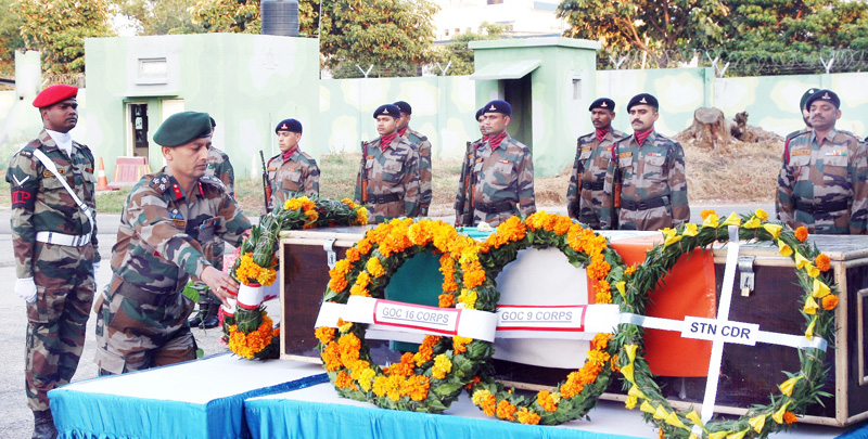 Tributes being paid to martyr Army jawan in Jammu on Friday.