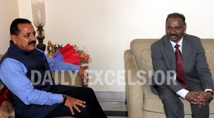 Lt Governor Girish Chandra Murmu in a meeting with Union MoS in PMO Dr Jitendra Singh at latter's Trikuta Nagar residence in Jammu on Sunday. -Excelsior/Rakesh