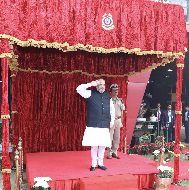 Union Home Minister, Amit Shah receiving the Ceremonial Guard of Honour during his visit at the CRPF Head Quarters in New Delhi on Friday. (UNI)