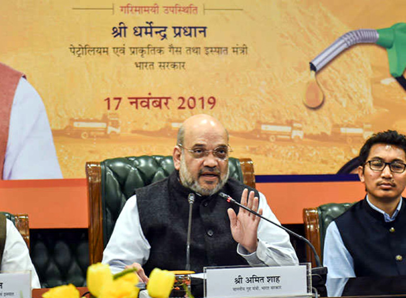 Union Home Minister Amit Shah launching the supply of 'special grade diesel' in Ladakh, via video conferencing. Member of Parliament from Ladakh Jamyang Tsering Namgyal is also seen in the picture.