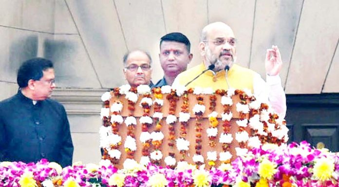 Union Home Minister Amit Shah addressing the Rashtriya Ekta Diwas at Major Dhyan Chand National Stadium in New Delhi on Thursday. (UNI)