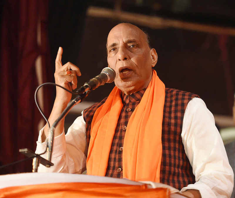 Defence Minister Rajnath Singh addressing BJP workers' meeting in Lucknow on Friday. (UNI)