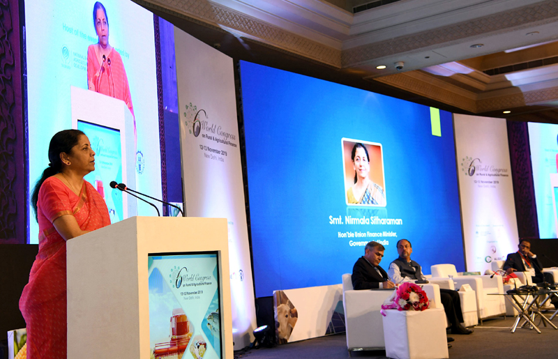 Minister for Finance and Corporate Affairs, Nirmala Sitharaman addressing a function in New Delhi on Tuesday.