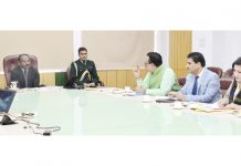 Lt Governor Girish Chandra Murmu chairing a meeting of Tourism Department in Jammu on Wednesday.