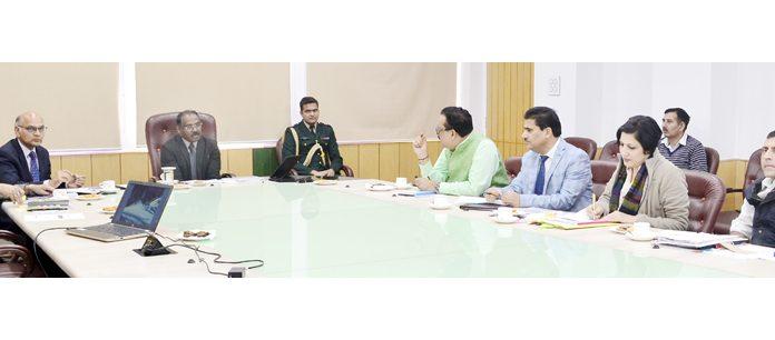 Lt Governor Girish Chandra Murmu chairing a meeting of Tourism Department in Jammu on Wednesday.