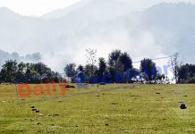 A mortar shell explodes in KG sector of Poonch on Wednesday. -Excelsior/ Rahi Kapoor