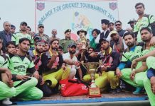 Winners of T20 Cricket Tournament organised by Army at Mendhar in Poonch.