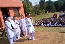Students presenting dance item during Zonal Level Folk Dance and Role Play Competition.