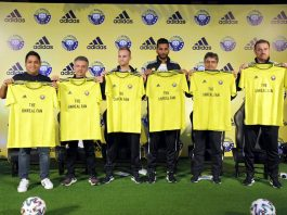 Officials of the Global Sportswear giant Adidas and Jammu and Kashmir based football Club Real Kashmir FC together unveiled the Club's 2019-2020 home jersey, in New Delhi on Tuesday. (UNI)