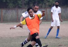 Players in action during a match between International FC and Gorkha Brothers in Jammu. -Excelsior/Rakesh