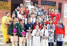 Winners of Inter School Competition posing for a group photograph with Chairman, Team Jammu, Zorawar Singh Jamwal and others.
