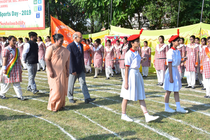 Ex-Advisor to former Governor, K K Sharma alongwith school Principal inspecting march past parade during Annual Sports Day.
