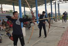 Boxers in action during match at MA Stadium Jammu (left) and students taking part in Archery Competition at Shri Mata Vaishno Devi Shrine Board Complex Katra. (right).