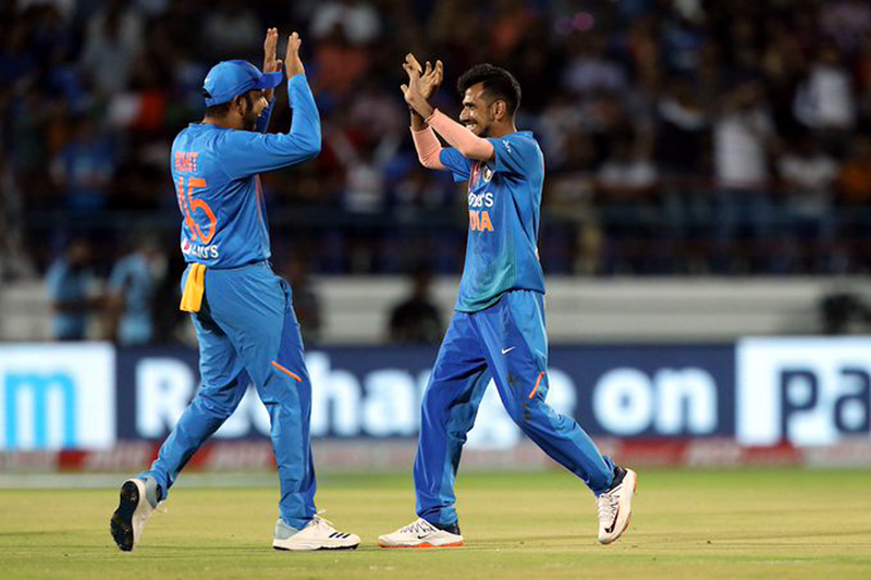 Indian players celebrating victory over Bangladesh.