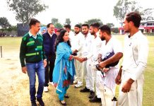 Prof Kaushal Samotra, Principal GGM Science College Jammu interacting with cricketers at GGM Science College Jammu on Wednesday.