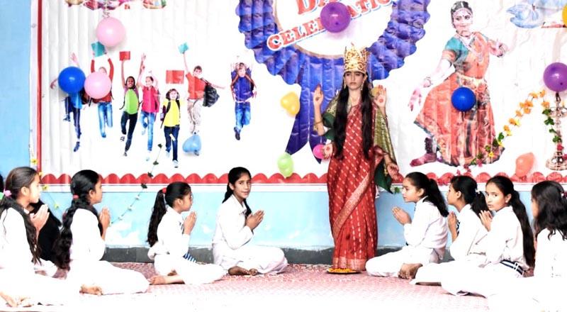 Children presenting Saraswati Vandana during Annual Day function. -Excelsior/Tilak Raj