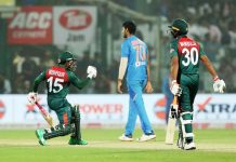 Mushfiqur Rahim celebrating after winning match against India at New Delhi on Sunday.