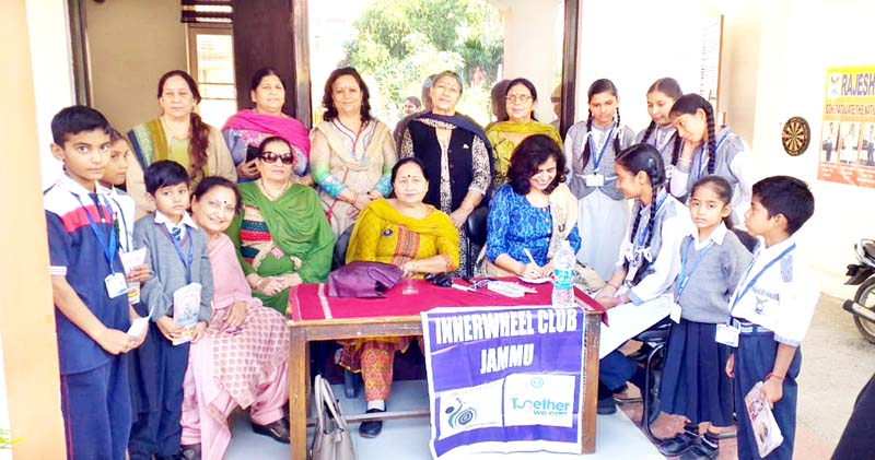 Officials of Inner Wheel Club and doctors during a medical camp at Rajesh Public High School, Bishnah in Jammu.