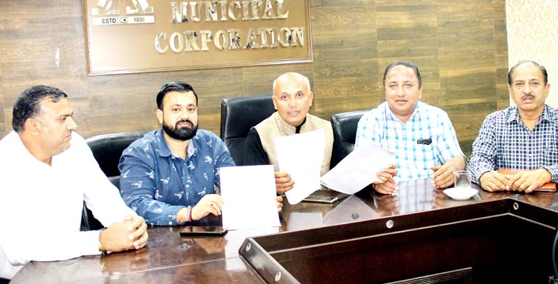 JMC Councillors addressing a press conference at Jammu on Friday. -Excelsior/Rakesh