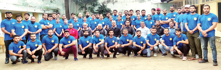 Selected players for National Bench Press Power Lifting Championship posing along with dignitaries and officials in Jammu.