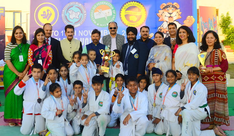 Winners of Matsogi Championship posing along with chief guest and other dignitaries at TSUS in Jammu.