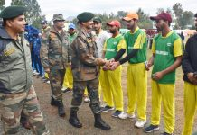 Chief guest Brig Akhilesh Kumar, Cdr, 13 Sect RR interacting with players during inaugural ceremony of DPL in Rajouri.