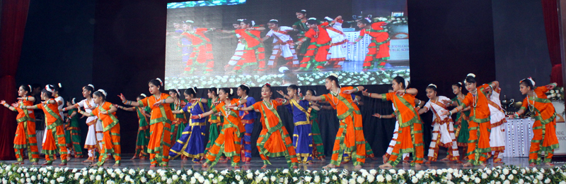 Students presenting cultural item while celebrating Annual Day at Jodhamal School in Jammu.