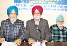 Office bearers of Kashmir Sikh Sangat addressing media persons in Jammu on Friday. —Excelsior/Rakesh