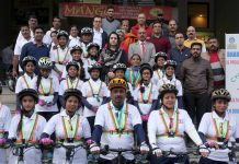 Participants of cyclothon during media interaction programme organised by Bharat Petroleum at its office in Jammu. —Excelsior/Rakesh