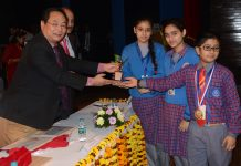 PD Tshering, CPMG J&K Circle awarding students of Navyug Hr Sec School, Jammu on Thursday.