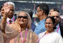 Bangladesh Prime Minister Sheikh Hasina and West Bengal Chief Minister Mamata Banerjee during the historic first day-night pink ball test match between India and Bangladesh at Eden Gardens in Kolkata on Friday. (UNI)
