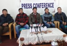 Members of All Ladakh Tour Operator Association addressing a press conference at Leh on Tuesday.