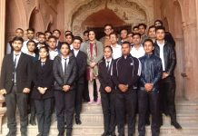 Students during the celebration of Heritage Week at Mubarak Mandi Complex, Jammu on Tuesday.