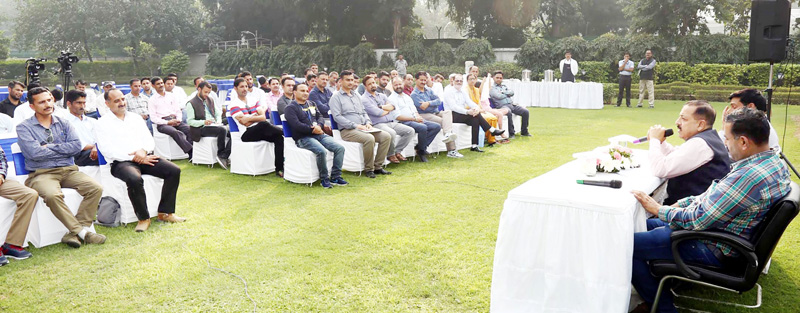 Union Minister Dr Jitendra Singh interacting with a delegation of teachers representing different districts of the Union Territories of Jammu & Kashmir and Ladakh, at New Delhi on Tuesday.