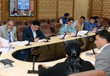 Chief Secretary BVR Subrahmanyam chairing a meeting in Jammu on Wednesday.