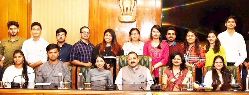 Union Minister Dr Jitendra Singh in an interaction with a group of students from Delhi University, on the occasion of Children's Day, at New Delhi on Thursday.