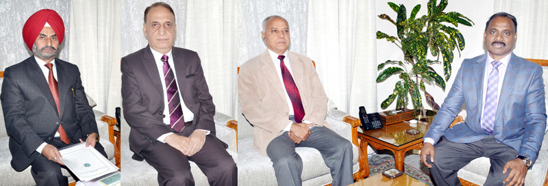 P L Gupta, Abdul Latief Zaman Deva and K.S Risam meeting Lieutenant Governor G C Murmu in Jammu on Tuesday.