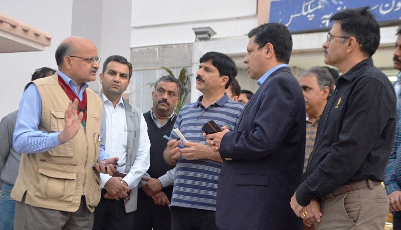 Chief Secretary BVR Subrahmanyam interacting with officers during visit to Civil Secretariat on Sunday.