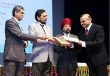 MK Sharma, Member Secretary JK SLSA receiving award at New Delhi.