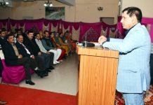 CMD of J&K Bank, R K Chhibber, addressing Bank staff in Poonch.