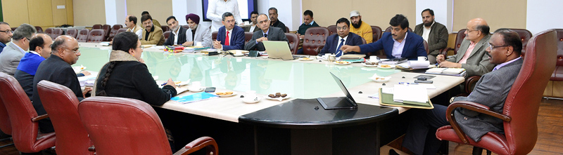 Lieutenant Governor G.C Murmu chairing a meeting on Tuesday.