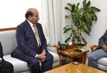 Lt. Governor G C Murmu meeting K K Sharma, member SMVDSB onThursday.