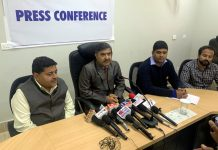 NHAI representatives at a press conference at Jammu on Saturday.
