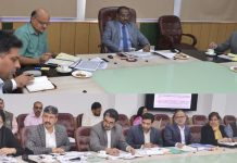 Lieutenant Governor Girish Chandra Murmu chairing a meeting on Wednesday.