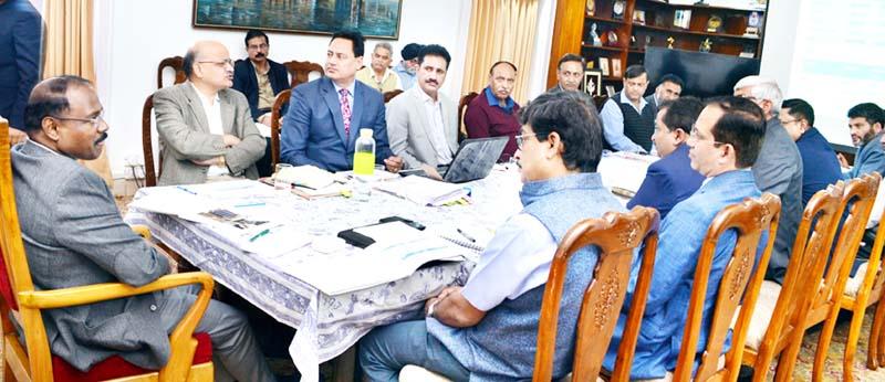 Lieutenant Governor Girish Chandra Murmu chairing a meeting in Jammu on Thursday.