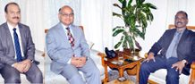 Lt Governor, GC Murmu meeting with Advisor K K Sharma & VC University of Jammu Manoj Dhar on Saturday.