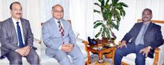 Lt Governor, GC Murmu meeting with Advisor K K Sharma & VC University of Jammu Manoj Dhar on Saturday.