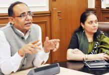 Principal Secretary Planning Rohit Kansal chairing a meeting on Tuesday.