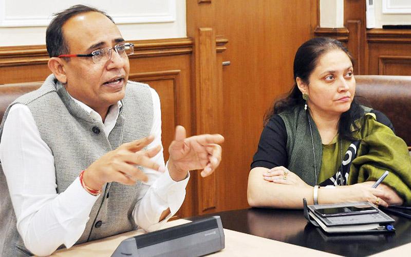 Principal Secretary Planning Rohit Kansal chairing a meeting on Tuesday.