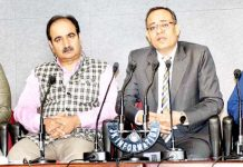 Principal Secretary Planning Rohit Kansal addressing press conference on Wednesday.